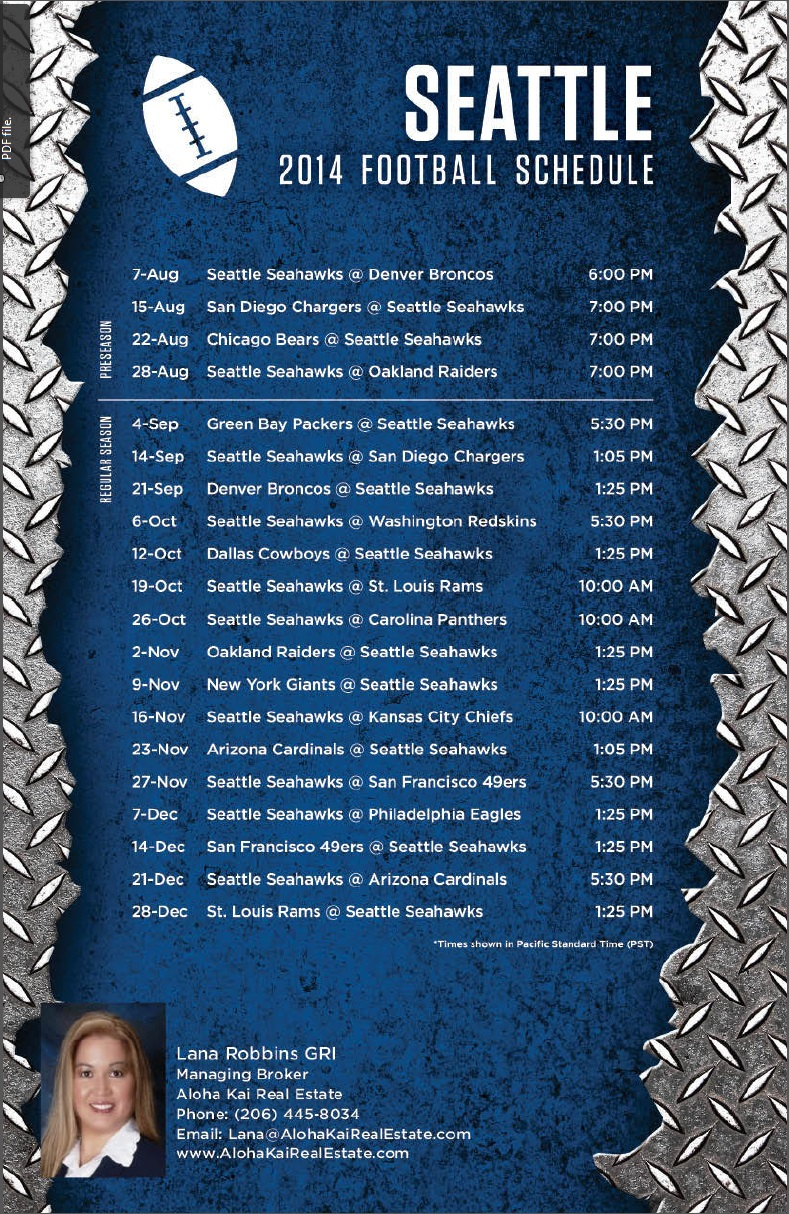 Seattle Seahawks 2014 Football Schedule